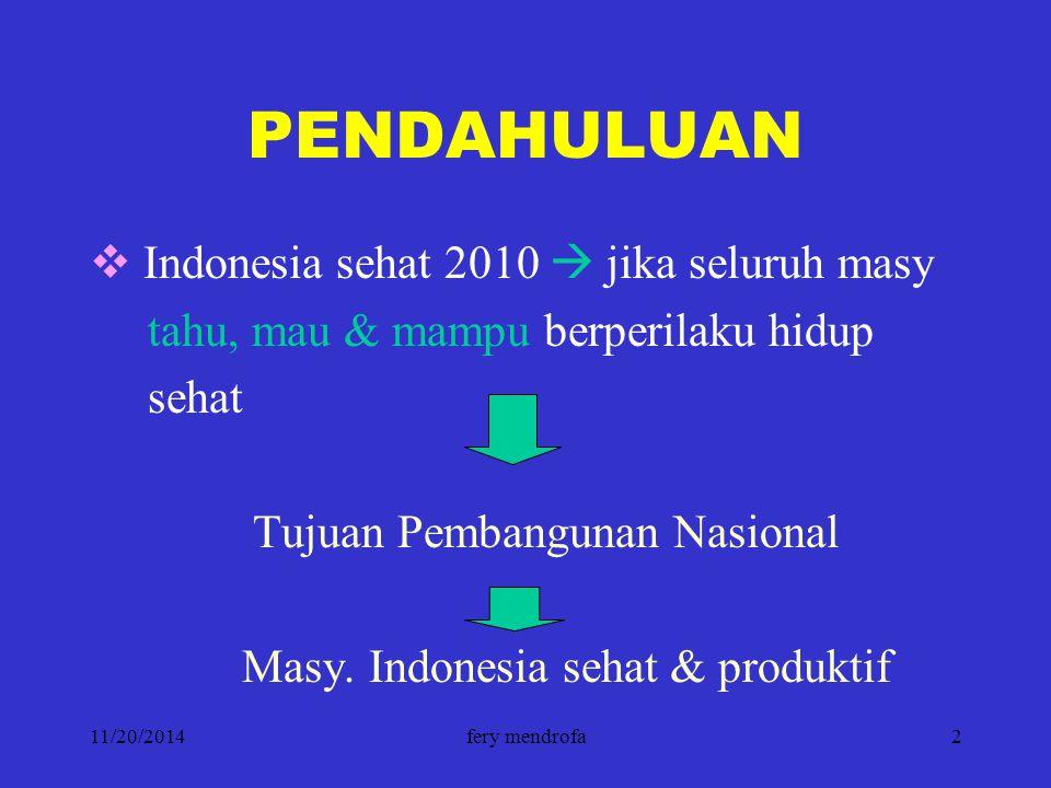11/20/2014fery mendrofa2 PENDAHULUAN  Indonesia sehat 2010  jika seluruh masy tahu, mau & mampu berperilaku hidup sehat Tujuan Pembangunan Nasional
