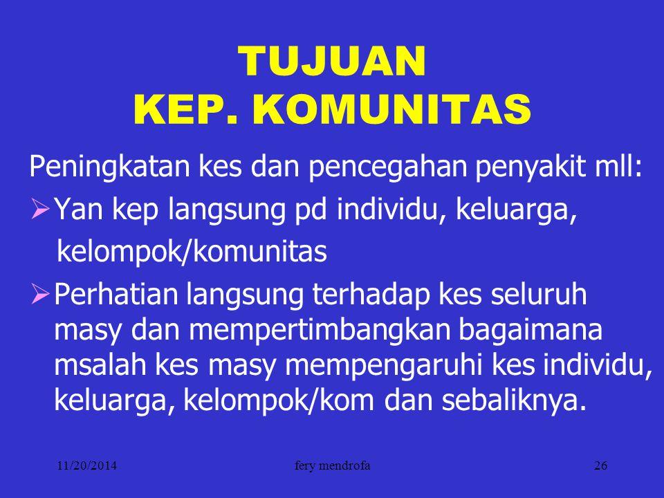11/20/2014fery mendrofa26 TUJUAN KEP. KOMUNITAS Peningkatan kes dan pencegahan penyakit mll:  Yan kep langsung pd individu, keluarga, kelompok/komuni