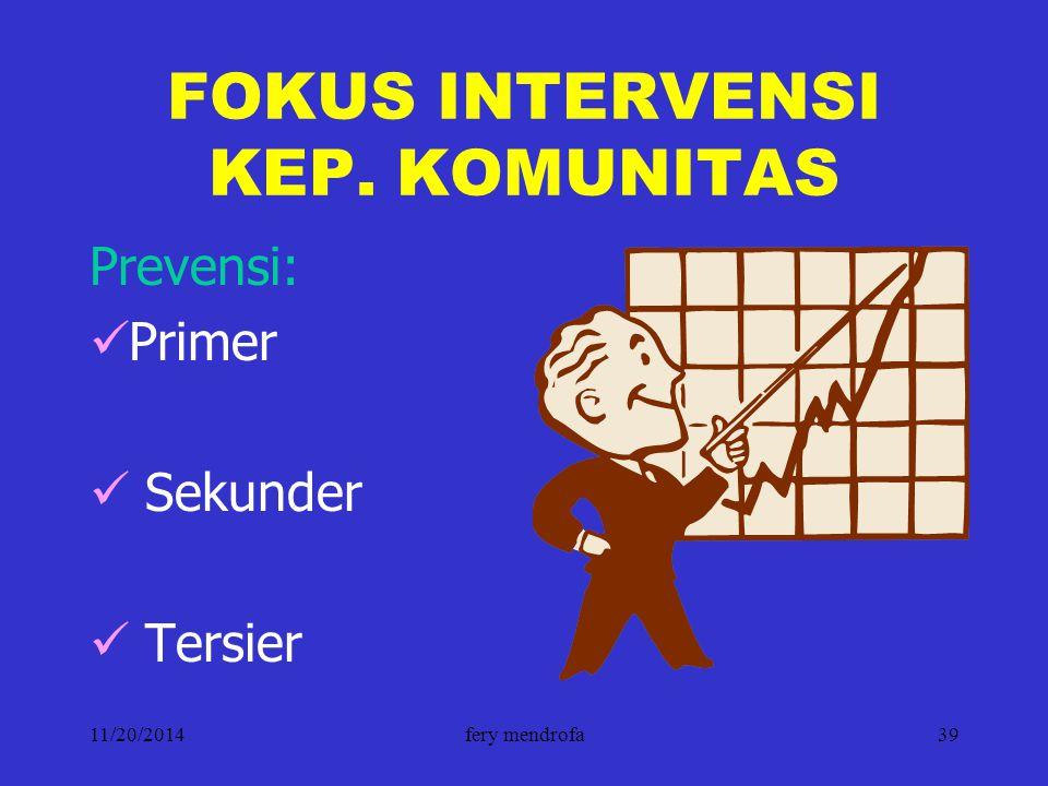 11/20/2014fery mendrofa39 FOKUS INTERVENSI KEP. KOMUNITAS Prevensi: Primer Sekunder Tersier