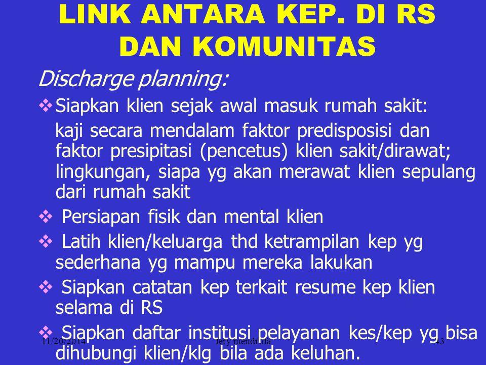 11/20/2014fery mendrofa43 LINK ANTARA KEP. DI RS DAN KOMUNITAS Discharge planning:  Siapkan klien sejak awal masuk rumah sakit: kaji secara mendalam