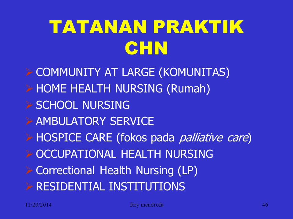 11/20/2014fery mendrofa46 TATANAN PRAKTIK CHN  COMMUNITY AT LARGE (KOMUNITAS)  HOME HEALTH NURSING (Rumah)  SCHOOL NURSING  AMBULATORY SERVICE  H