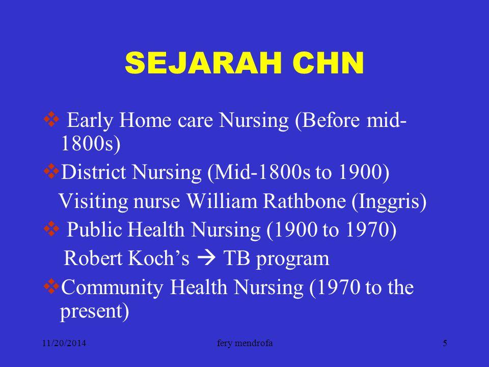 11/20/2014fery mendrofa5 SEJARAH CHN  Early Home care Nursing (Before mid- 1800s)  District Nursing (Mid-1800s to 1900) Visiting nurse William Rathb