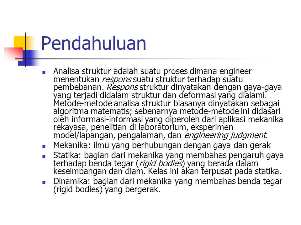Pendahuluan Analisa struktur adalah suatu proses dimana engineer menentukan respons suatu struktur terhadap suatu pembebanan. Respons struktur dinyata