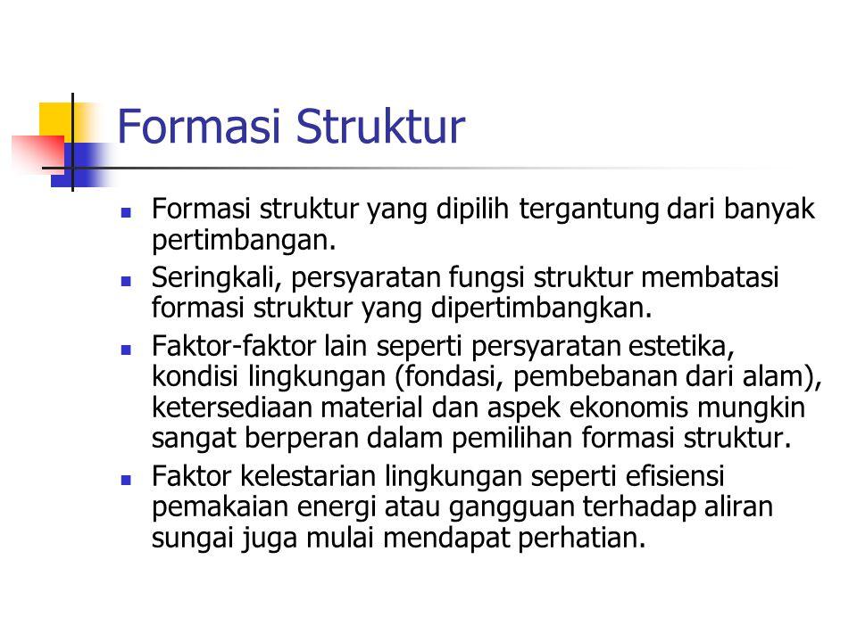 Formasi Struktur Formasi struktur yang dipilih tergantung dari banyak pertimbangan. Seringkali, persyaratan fungsi struktur membatasi formasi struktur