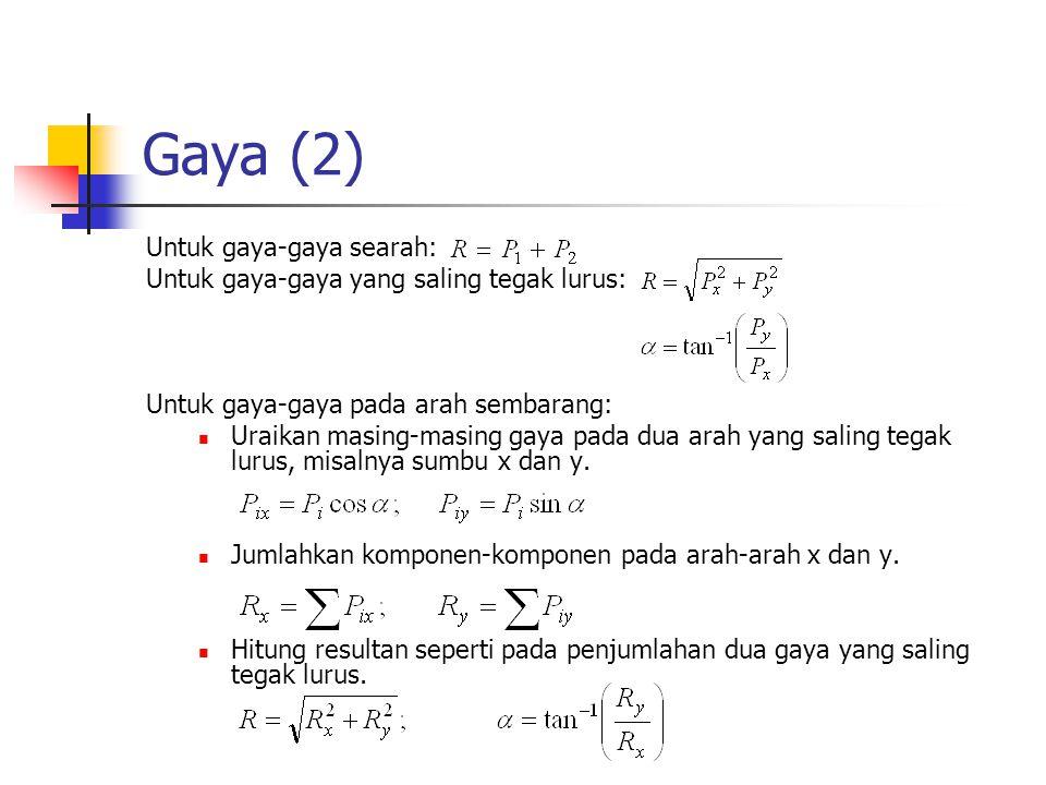 Gaya (2) Untuk gaya-gaya searah: Untuk gaya-gaya yang saling tegak lurus: Untuk gaya-gaya pada arah sembarang: Uraikan masing-masing gaya pada dua ara