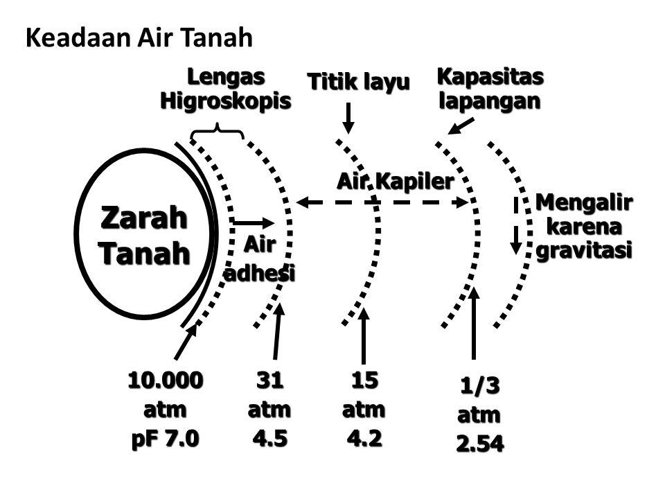 Keadaan Air Tanah ZarahTanah Lengas Higroskopis Air Kapiler Titik layu Kapasitas lapangan Mengalir karena gravitasi 10.000atm pF 7.0 31atm4.515atm4.2