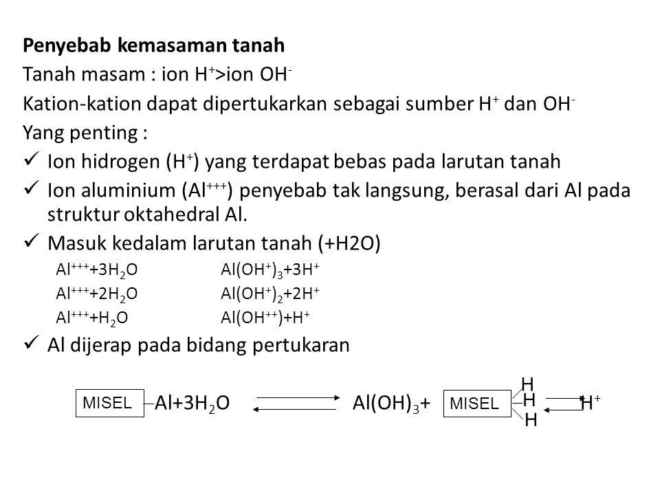 Penyebab kemasaman tanah Tanah masam : ion H + >ion OH - Kation-kation dapat dipertukarkan sebagai sumber H + dan OH - Yang penting : Ion hidrogen (H