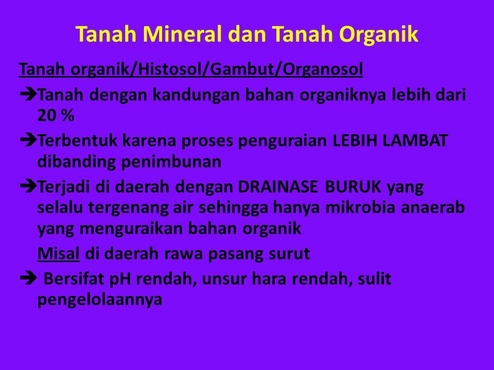 Tanah Mineral dan Tanah Organik Tanah organik/Histosol/Gambut/Organosol  Tanah dengan kandungan bahan organiknya lebih dari 20 %  Terbentuk karena p