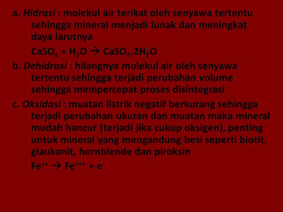 a. Hidrasi : molekul air terikat oleh senyawa tertentu sehingga mineral menjadi lunak dan meningkat daya larutnya CaSO 4 + H 2 O  CaSO 4.2H 2 O b. De