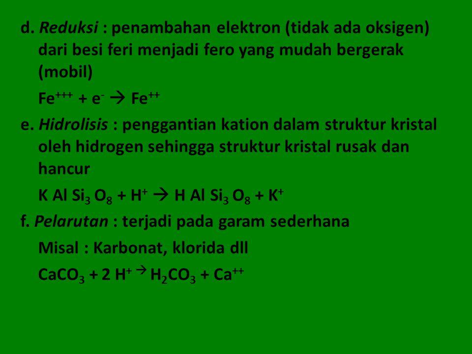 d. Reduksi : penambahan elektron (tidak ada oksigen) dari besi feri menjadi fero yang mudah bergerak (mobil) Fe +++ + e -  Fe ++ e. Hidrolisis : peng