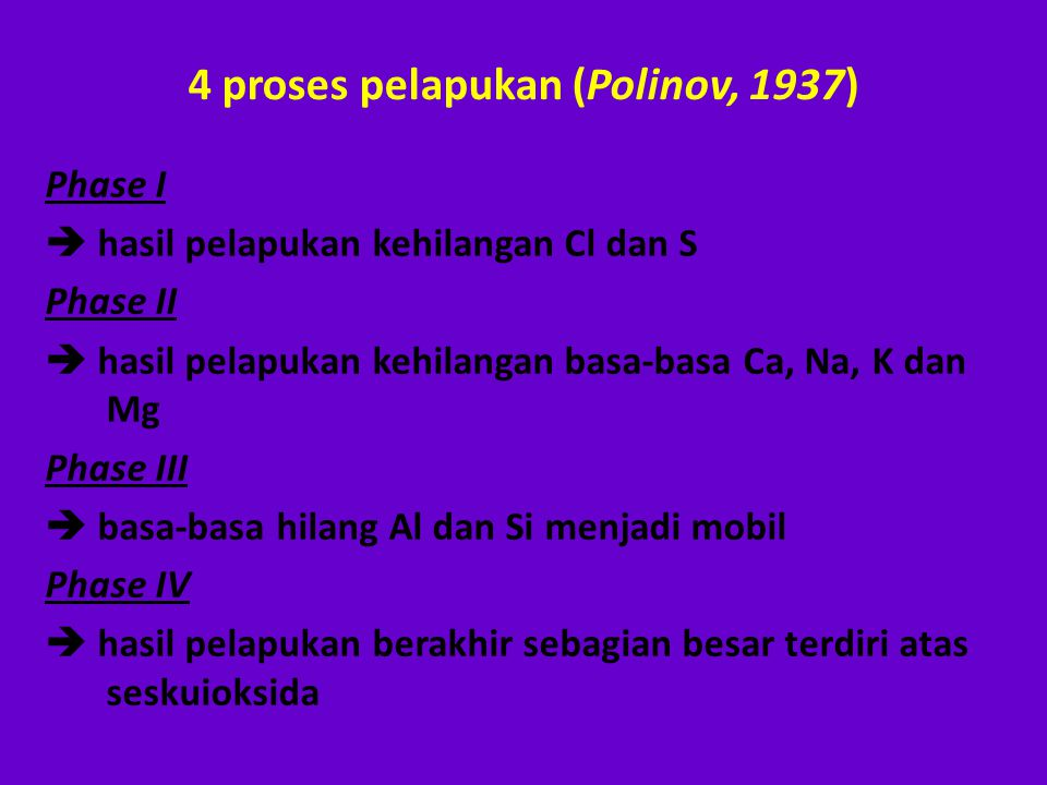 4 proses pelapukan (Polinov, 1937) Phase I  hasil pelapukan kehilangan Cl dan S Phase II  hasil pelapukan kehilangan basa-basa Ca, Na, K dan Mg Phas