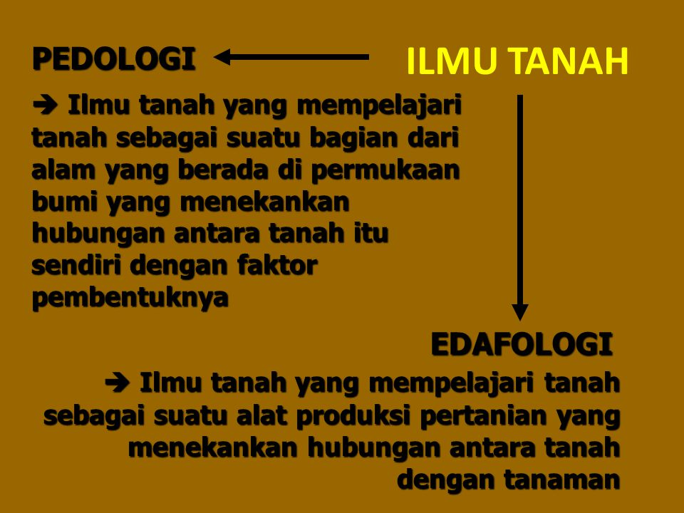 ILMU TANAH PEDOLOGI EDAFOLOGI  Ilmu tanah yang mempelajari tanah sebagai suatu bagian dari alam yang berada di permukaan bumi yang menekankan hubunga