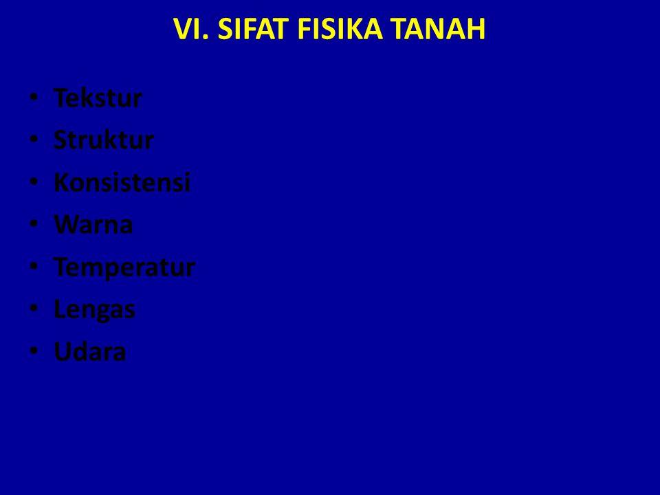 VI. SIFAT FISIKA TANAH Tekstur Struktur Konsistensi Warna Temperatur Lengas Udara