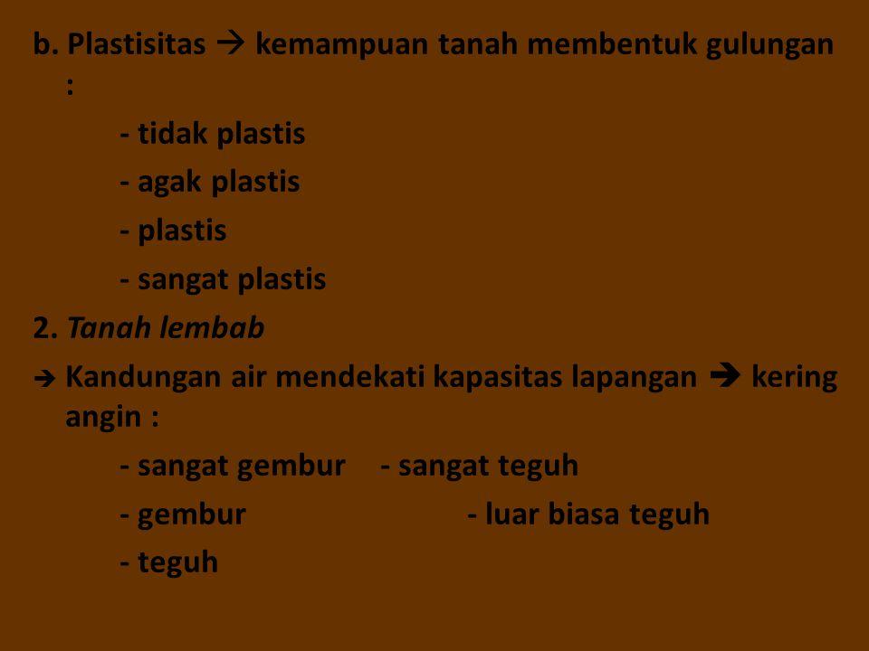 b. Plastisitas  kemampuan tanah membentuk gulungan : - tidak plastis - agak plastis - plastis - sangat plastis 2. Tanah lembab  Kandungan air mendek