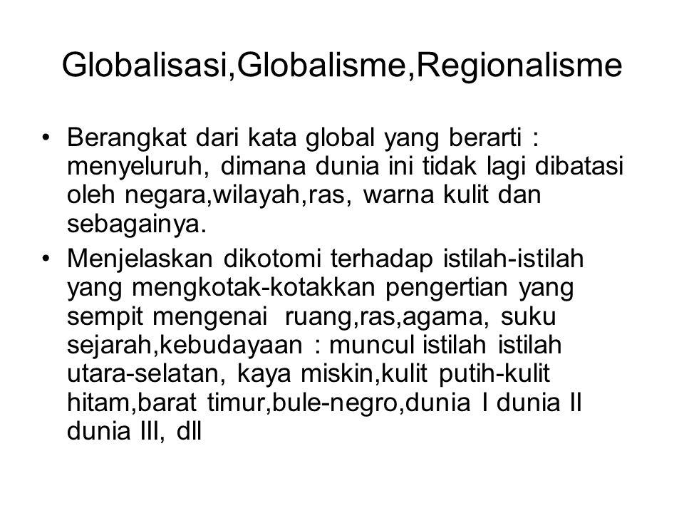 Globalisasi,Globalisme,Regionalisme Berangkat dari kata global yang berarti : menyeluruh, dimana dunia ini tidak lagi dibatasi oleh negara,wilayah,ras, warna kulit dan sebagainya.