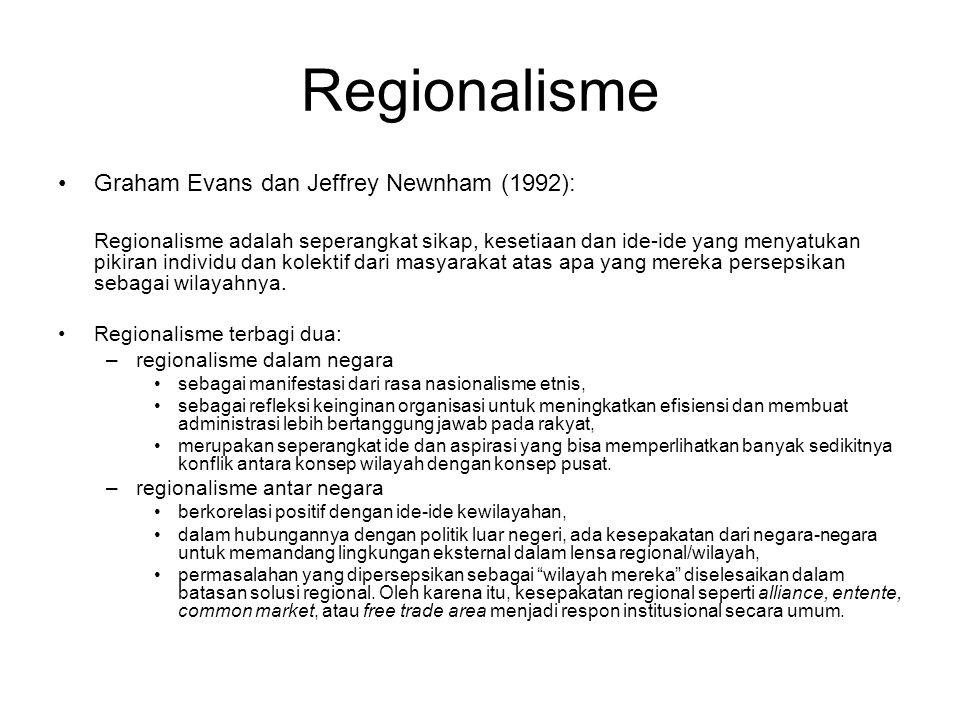 Regionalisme Graham Evans dan Jeffrey Newnham (1992): Regionalisme adalah seperangkat sikap, kesetiaan dan ide-ide yang menyatukan pikiran individu dan kolektif dari masyarakat atas apa yang mereka persepsikan sebagai wilayahnya.