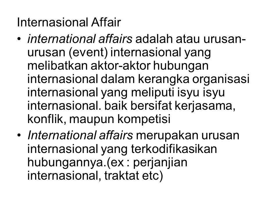 Internasional Affair international affairs adalah atau urusan- urusan (event) internasional yang melibatkan aktor-aktor hubungan internasional dalam kerangka organisasi internasional yang meliputi isyu isyu internasional.