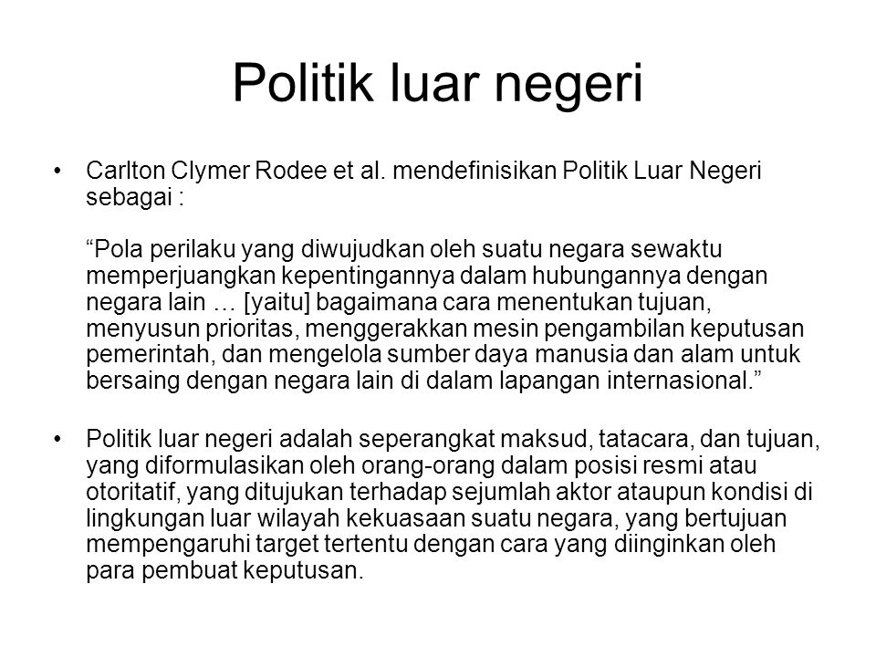 Politik luar negeri Carlton Clymer Rodee et al.