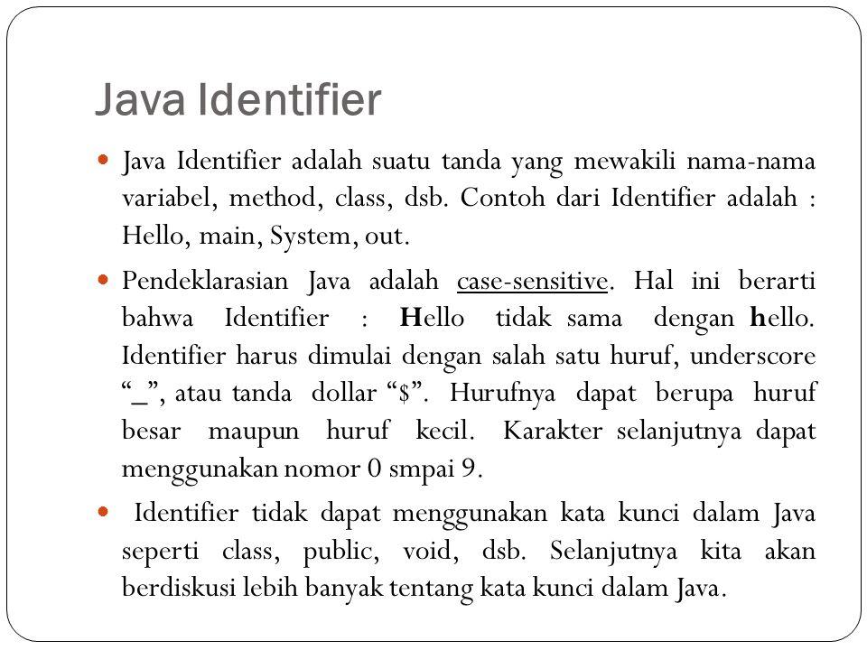 Java Identifier Java Identifier adalah suatu tanda yang mewakili nama-nama variabel, method, class, dsb.