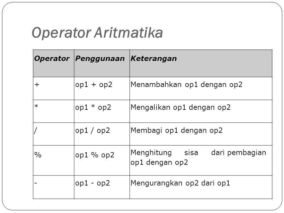 Operator Aritmatika OperatorPenggunaanKeterangan +op1 + op2Menambahkan op1 dengan op2 *op1 * op2op1 * op2Mengalikan op1 dengan op2 /op1 / op2op1 / op2Membagi op1 dengan op2 %op1 % op2op1 % op2 Menghitungsisadari pembagian op1 dengan op2 -op1 - op2op1 - op2Mengurangkan op2 dari op1