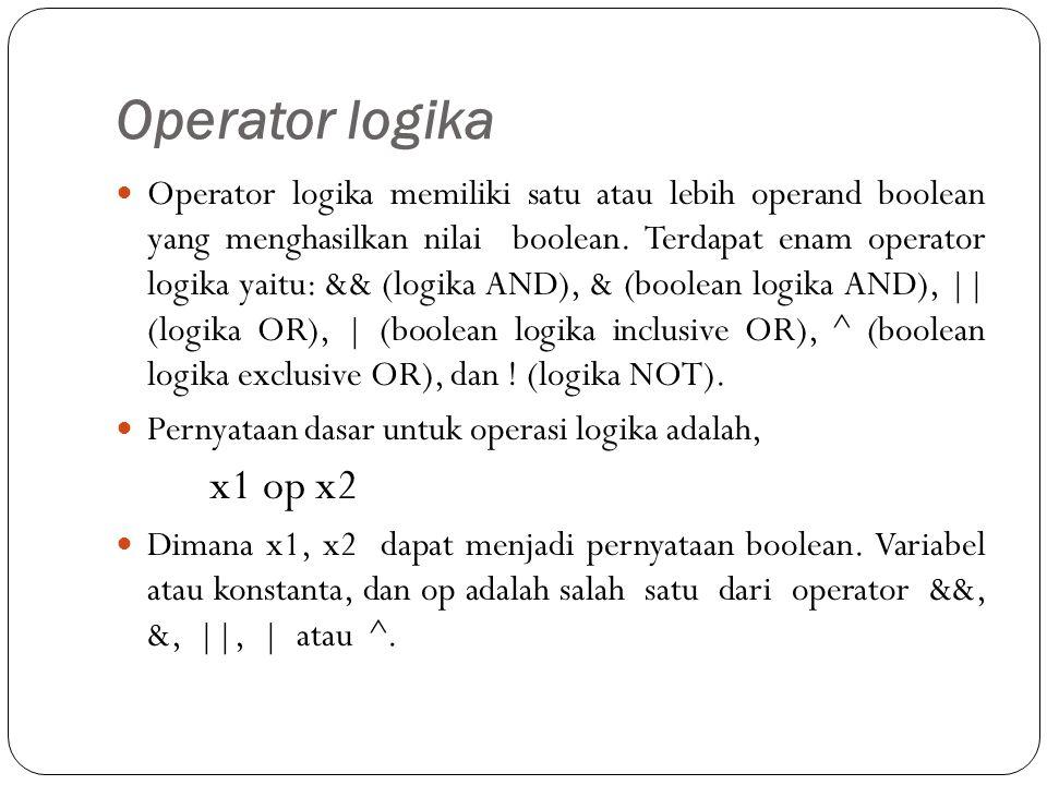 Operator logika Operator logika memiliki satu atau lebih operand boolean yang menghasilkan nilai boolean.