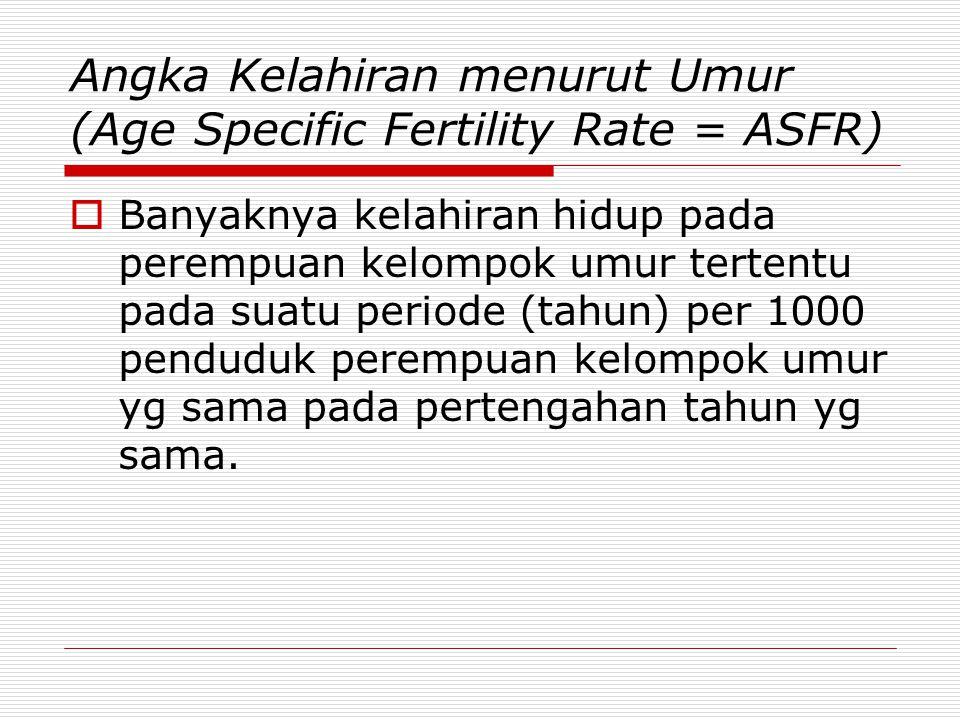 Angka Kelahiran menurut Umur (Age Specific Fertility Rate = ASFR)  Banyaknya kelahiran hidup pada perempuan kelompok umur tertentu pada suatu periode