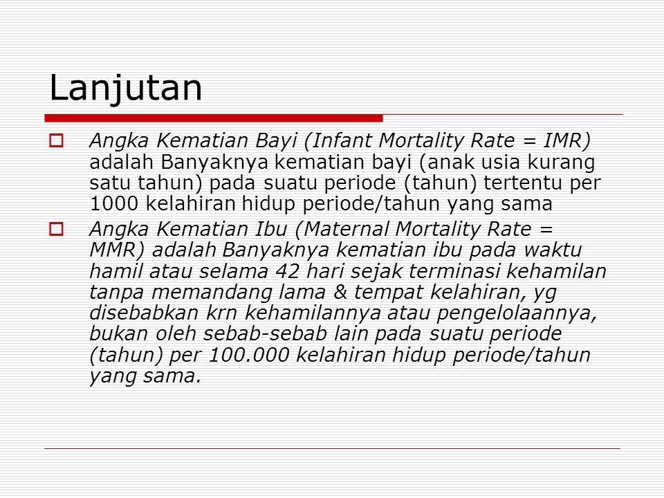 Lanjutan  Angka Kematian Bayi (Infant Mortality Rate = IMR)  adalah Banyaknya kematian bayi (anak usia kurang satu tahun) pada suatu periode (tahun)