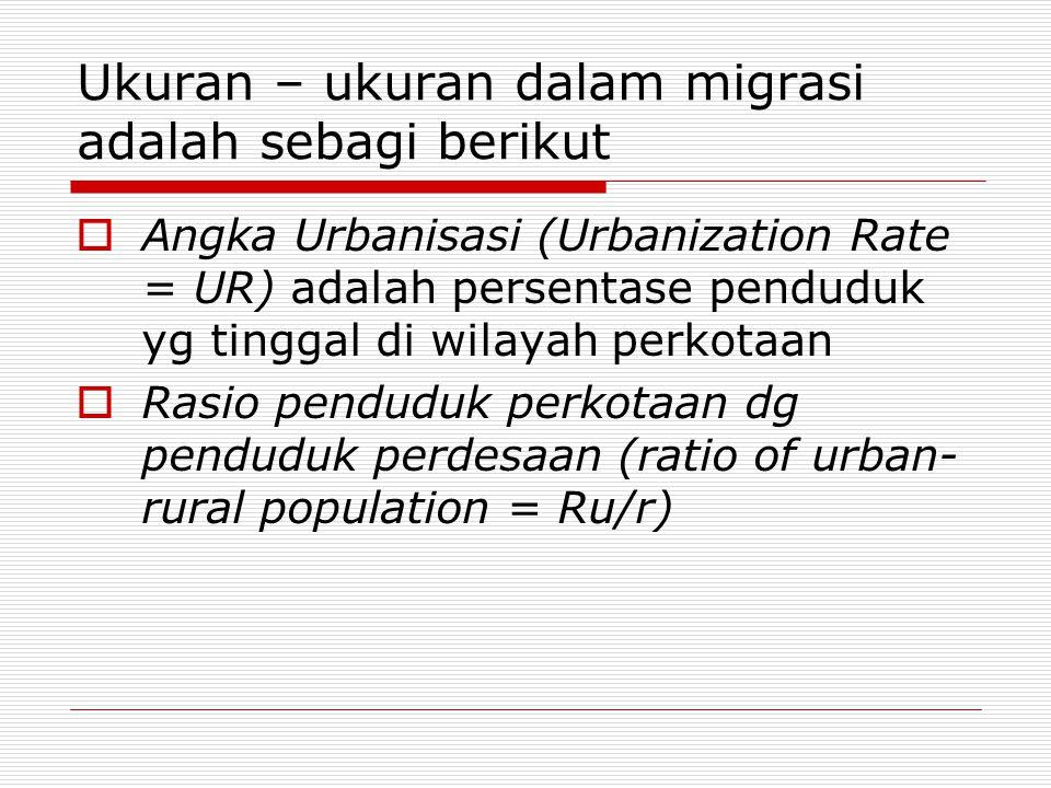 Ukuran – ukuran dalam migrasi adalah sebagi berikut  Angka Urbanisasi (Urbanization Rate = UR) adalah persentase penduduk yg tinggal di wilayah perko