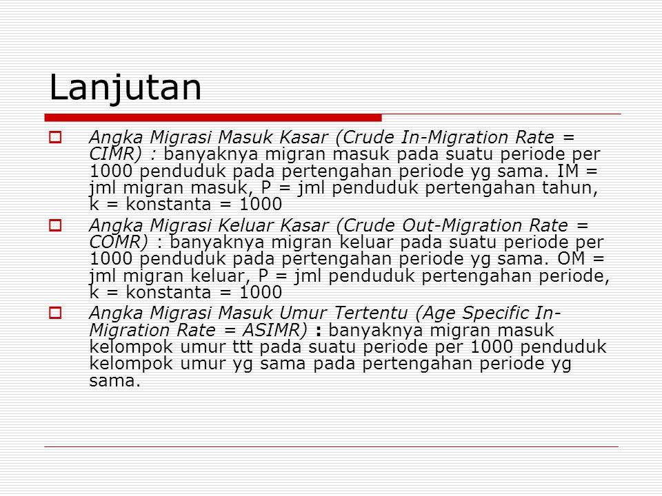 Lanjutan  Angka Migrasi Masuk Kasar (Crude In-Migration Rate = CIMR) : banyaknya migran masuk pada suatu periode per 1000 penduduk pada pertengahan p