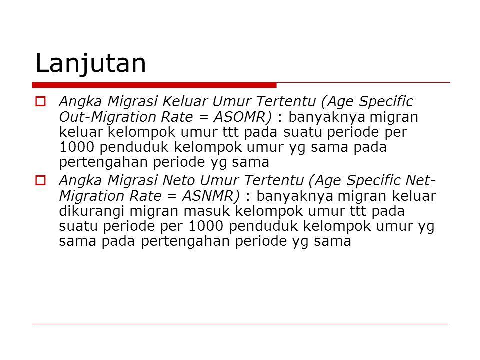 Lanjutan  Angka Migrasi Keluar Umur Tertentu (Age Specific Out-Migration Rate = ASOMR) : banyaknya migran keluar kelompok umur ttt pada suatu periode