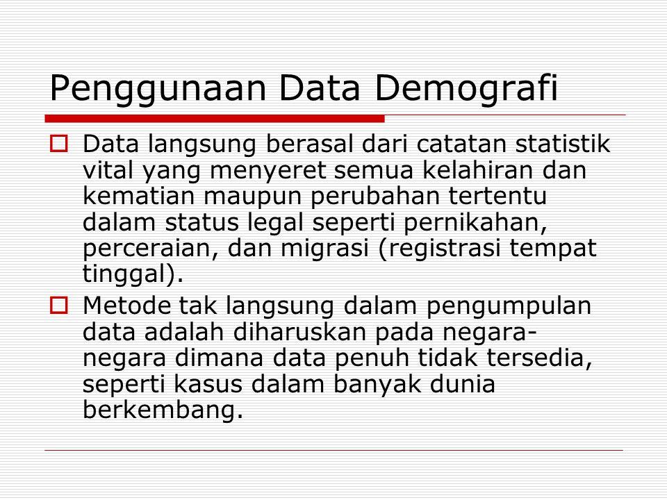 Penggunaan Data Demografi  Data langsung berasal dari catatan statistik vital yang menyeret semua kelahiran dan kematian maupun perubahan tertentu da