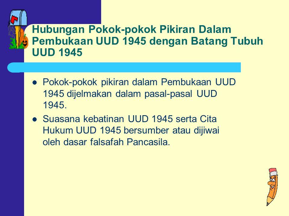 Hubungan Pokok-pokok Pikiran Dalam Pembukaan UUD 1945 dengan Batang Tubuh UUD 1945 Pokok-pokok pikiran dalam Pembukaan UUD 1945 dijelmakan dalam pasal-pasal UUD 1945.