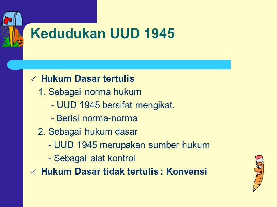 Kedudukan UUD 1945 Hukum Dasar tertulis 1.Sebagai norma hukum - UUD 1945 bersifat mengikat.