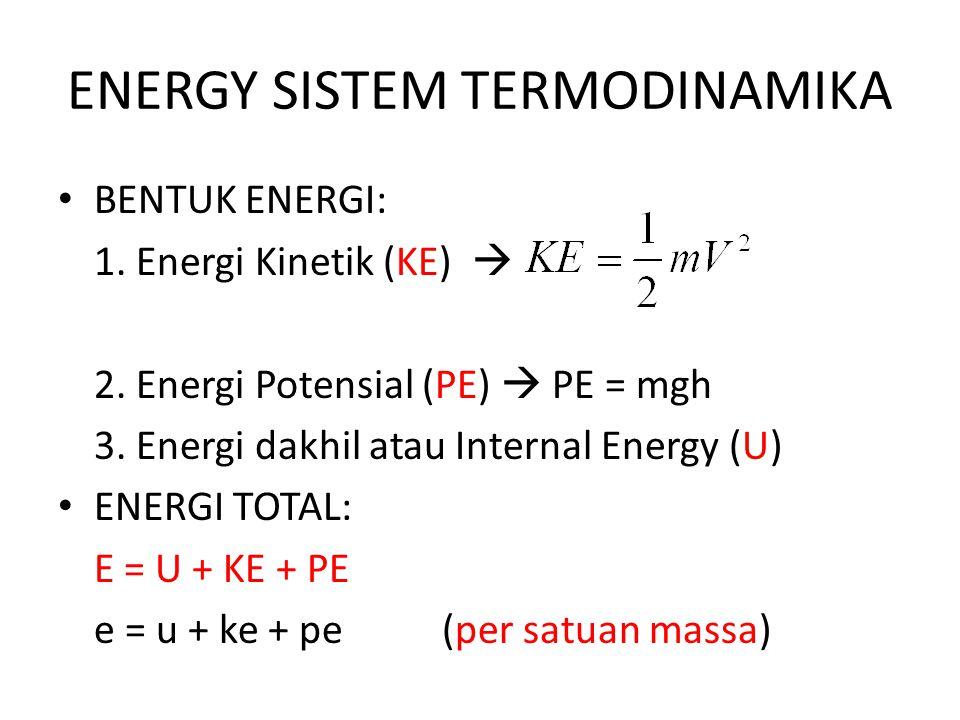 ENERGY SISTEM TERMODINAMIKA BENTUK ENERGI: 1. Energi Kinetik (KE)  2. Energi Potensial (PE)  PE = mgh 3. Energi dakhil atau Internal Energy (U) ENER