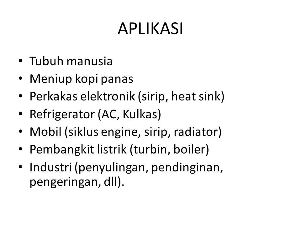 APLIKASI Tubuh manusia Meniup kopi panas Perkakas elektronik (sirip, heat sink) Refrigerator (AC, Kulkas) Mobil (siklus engine, sirip, radiator) Pemba
