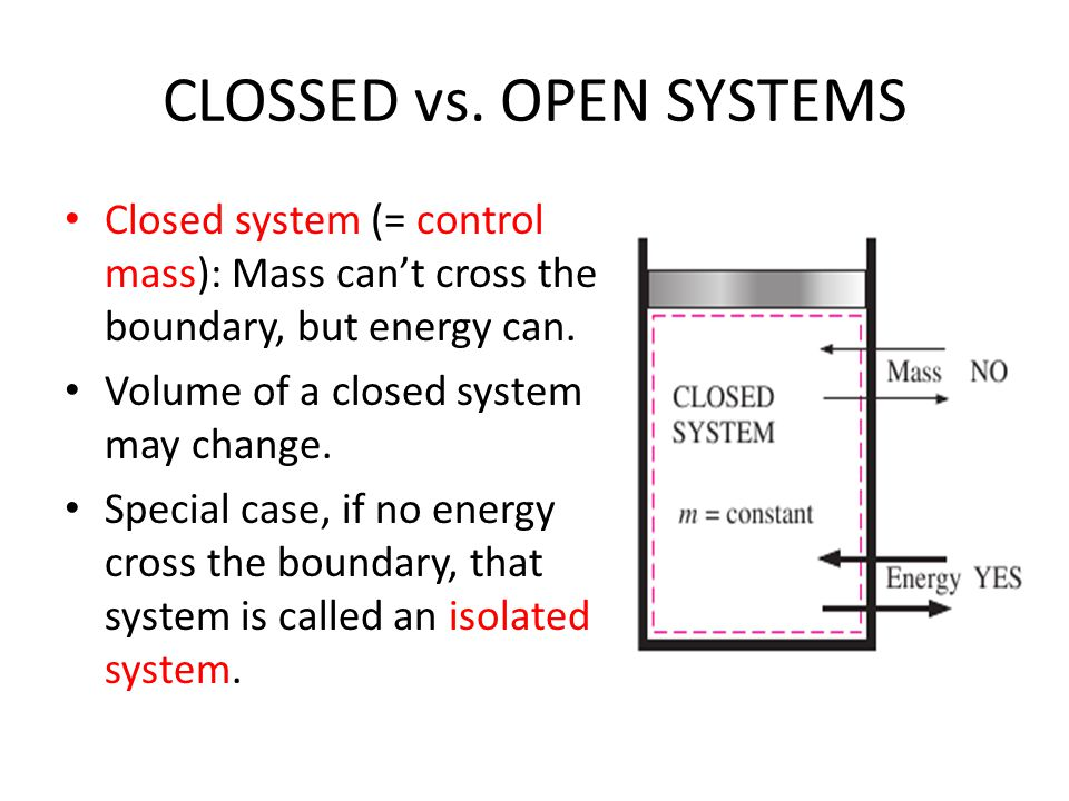 CLOSSED vs. OPEN SYSTEMS Closed system (= control mass): Mass can't cross the boundary, but energy can. Volume of a closed system may change. Special