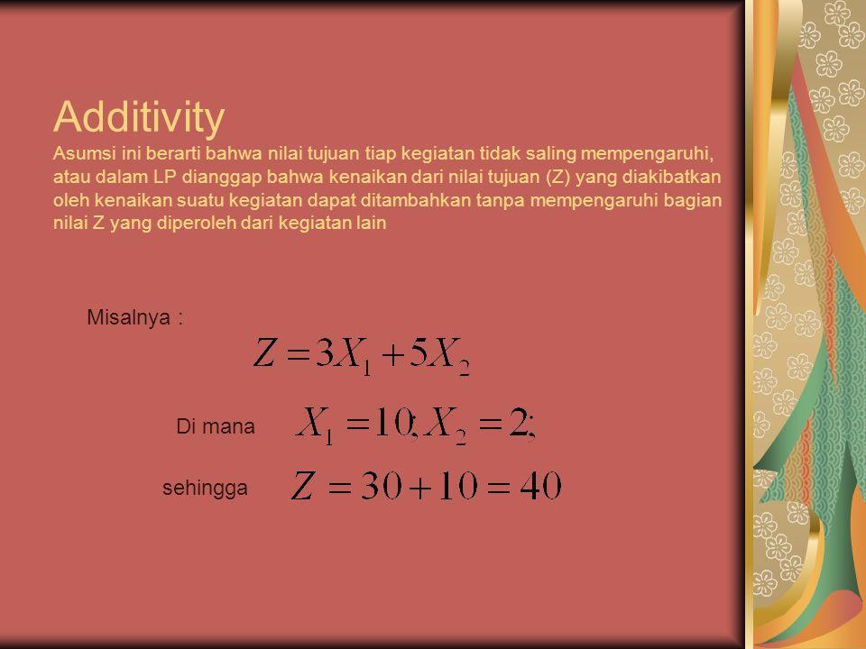 Additivity Asumsi ini berarti bahwa nilai tujuan tiap kegiatan tidak saling mempengaruhi, atau dalam LP dianggap bahwa kenaikan dari nilai tujuan (Z) yang diakibatkan oleh kenaikan suatu kegiatan dapat ditambahkan tanpa mempengaruhi bagian nilai Z yang diperoleh dari kegiatan lain Misalnya : Di mana sehingga