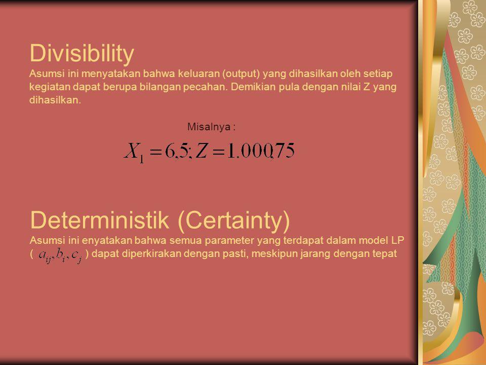 Divisibility Asumsi ini menyatakan bahwa keluaran (output) yang dihasilkan oleh setiap kegiatan dapat berupa bilangan pecahan.