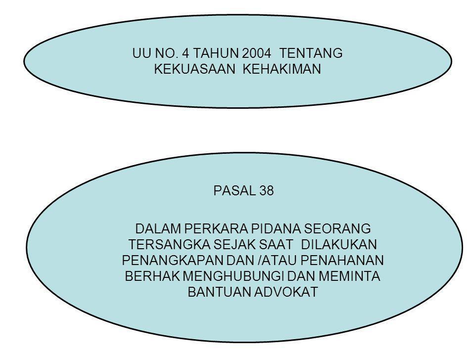 PASAL 38 DALAM PERKARA PIDANA SEORANG TERSANGKA SEJAK SAAT DILAKUKAN PENANGKAPAN DAN /ATAU PENAHANAN BERHAK MENGHUBUNGI DAN MEMINTA BANTUAN ADVOKAT UU