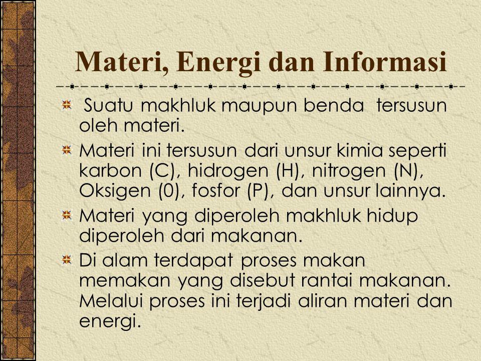 Materi, Energi dan Informasi Suatu makhluk maupun benda tersusun oleh materi. Materi ini tersusun dari unsur kimia seperti karbon (C), hidrogen (H), n