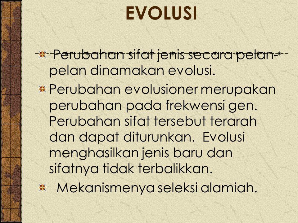 EVOLUSI Perubahan sifat jenis secara pelan- pelan dinamakan evolusi. Perubahan evolusioner merupakan perubahan pada frekwensi gen. Perubahan sifat ter