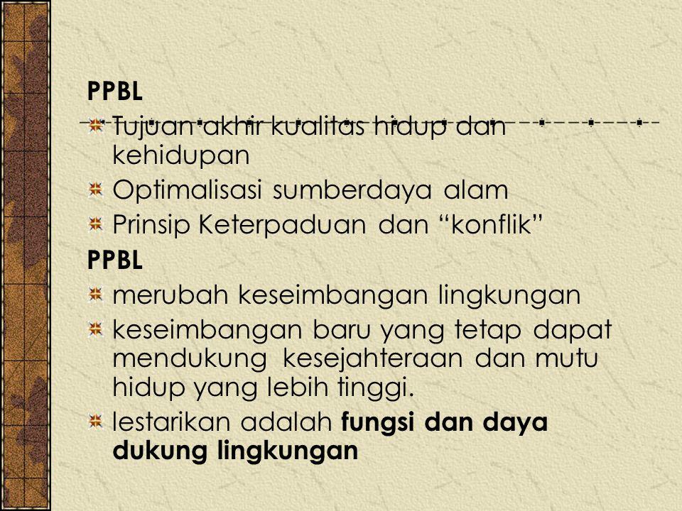 """PPBL Tujuan akhir kualitas hidup dan kehidupan Optimalisasi sumberdaya alam Prinsip Keterpaduan dan """"konflik"""" PPBL merubah keseimbangan lingkungan kes"""