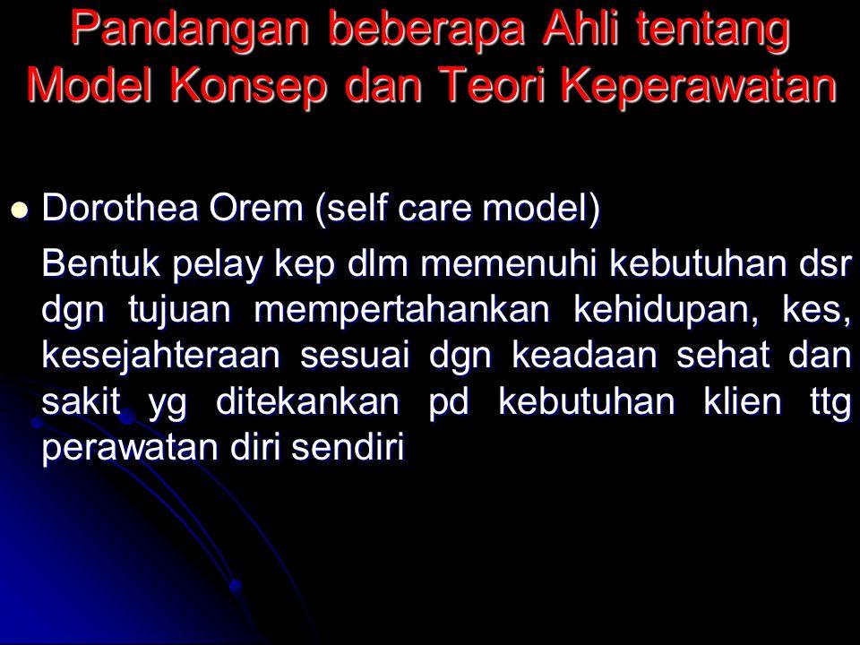 Pandangan beberapa Ahli tentang Model Konsep dan Teori Keperawatan Dorothea Orem (self care model) Dorothea Orem (self care model) Bentuk pelay kep dl
