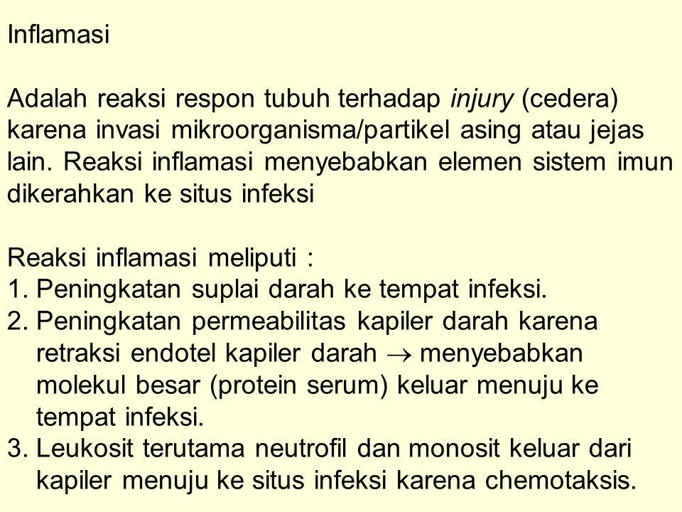 Inflamasi Adalah reaksi respon tubuh terhadap injury (cedera) karena invasi mikroorganisma/partikel asing atau jejas lain. Reaksi inflamasi menyebabka