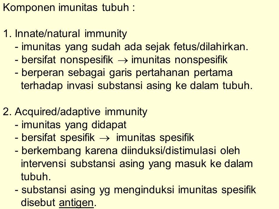 Komponen imunitas tubuh : 1. Innate/natural immunity - imunitas yang sudah ada sejak fetus/dilahirkan. - bersifat nonspesifik  imunitas nonspesifik -