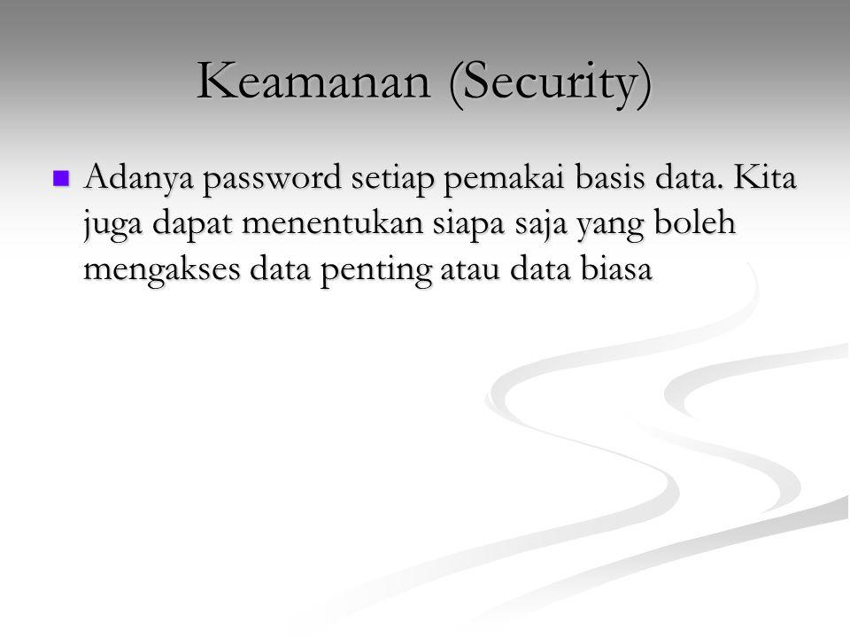 Keamanan (Security) Adanya password setiap pemakai basis data. Kita juga dapat menentukan siapa saja yang boleh mengakses data penting atau data biasa