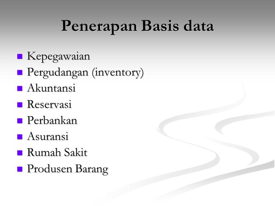 Penerapan Basis data Kepegawaian Kepegawaian Pergudangan (inventory) Pergudangan (inventory) Akuntansi Akuntansi Reservasi Reservasi Perbankan Perbank