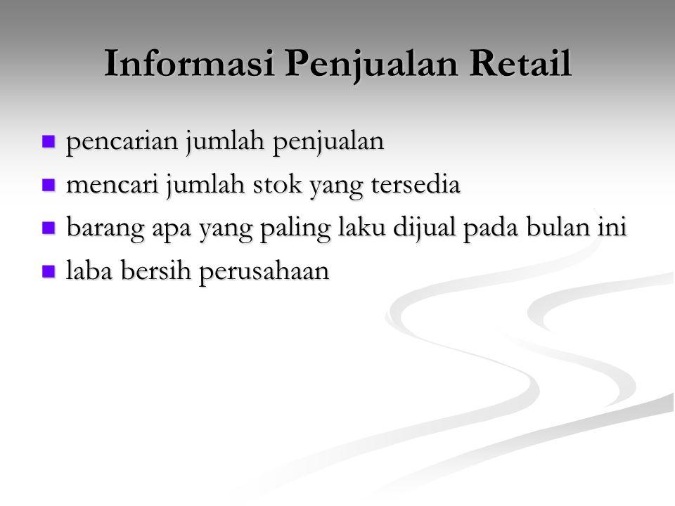 Informasi Penjualan Retail pencarian jumlah penjualan pencarian jumlah penjualan mencari jumlah stok yang tersedia mencari jumlah stok yang tersedia b