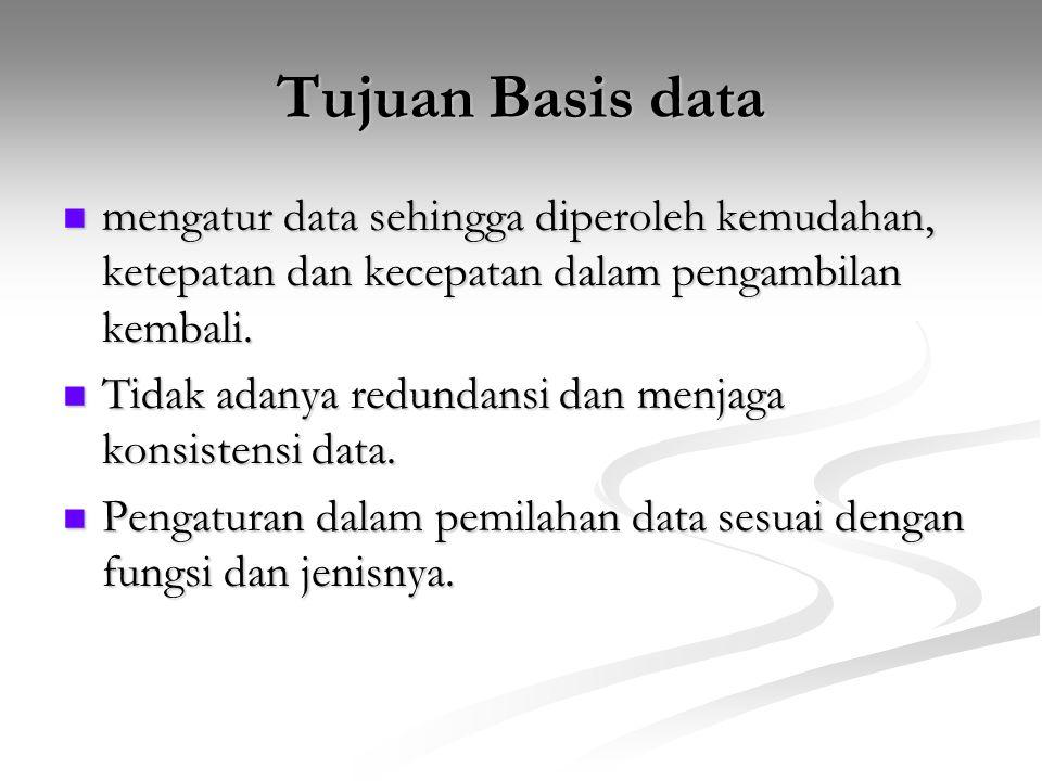 Tujuan Basis data mengatur data sehingga diperoleh kemudahan, ketepatan dan kecepatan dalam pengambilan kembali. mengatur data sehingga diperoleh kemu