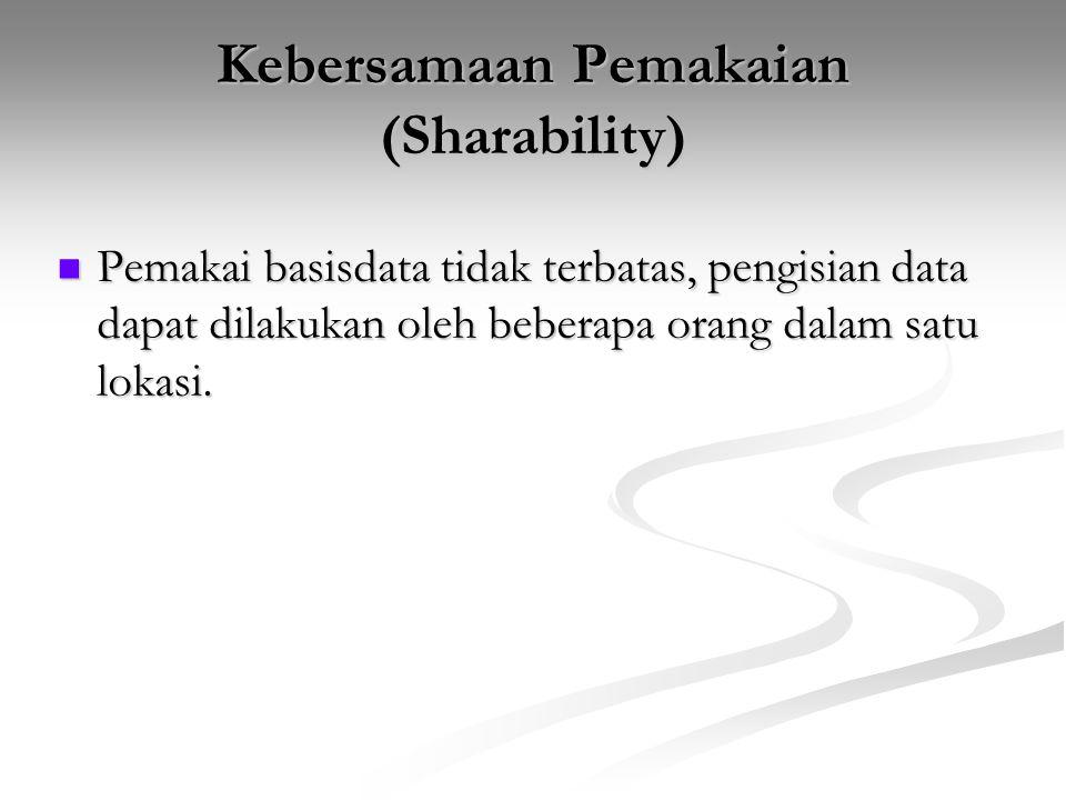 Kebersamaan Pemakaian (Sharability) Pemakai basisdata tidak terbatas, pengisian data dapat dilakukan oleh beberapa orang dalam satu lokasi. Pemakai ba